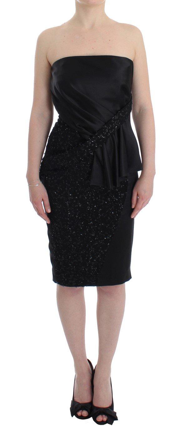 Masha Ma Women's Strapless Embellished Pencil Dress Black SIG12640 - S