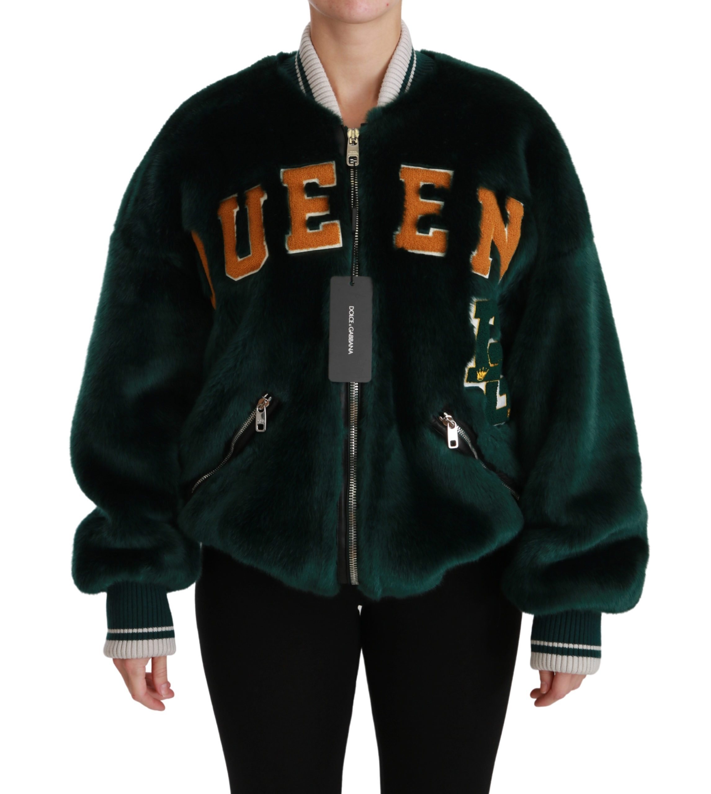 Dolce & Gabbana Women's Queen Faux Fur Bomber Jacket Green JKT2521 - IT38 | S
