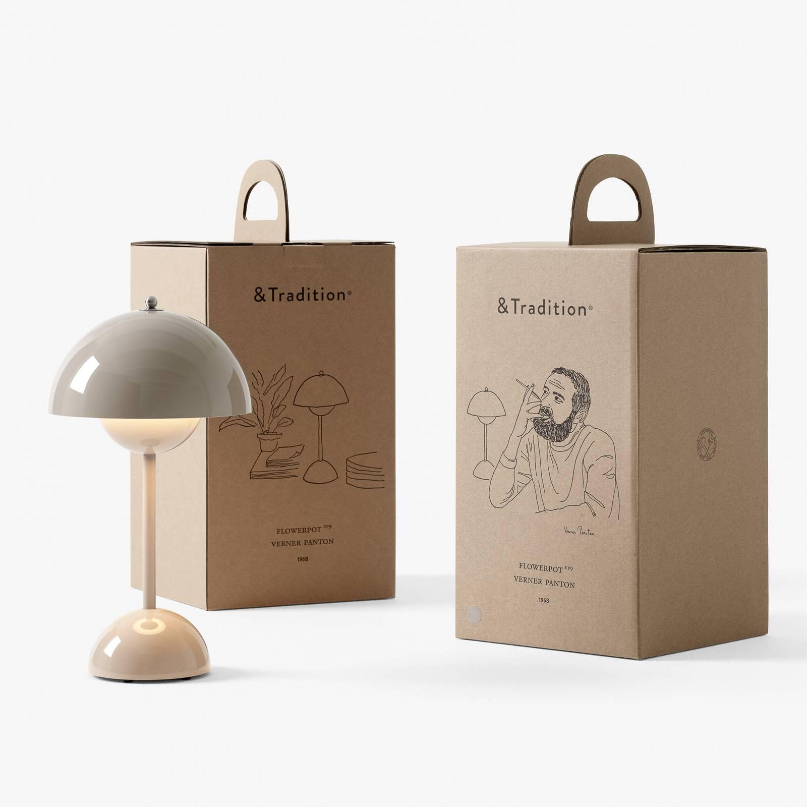 &Tradition Flowerpot VP9 -pöytälamppu harmaa-beige