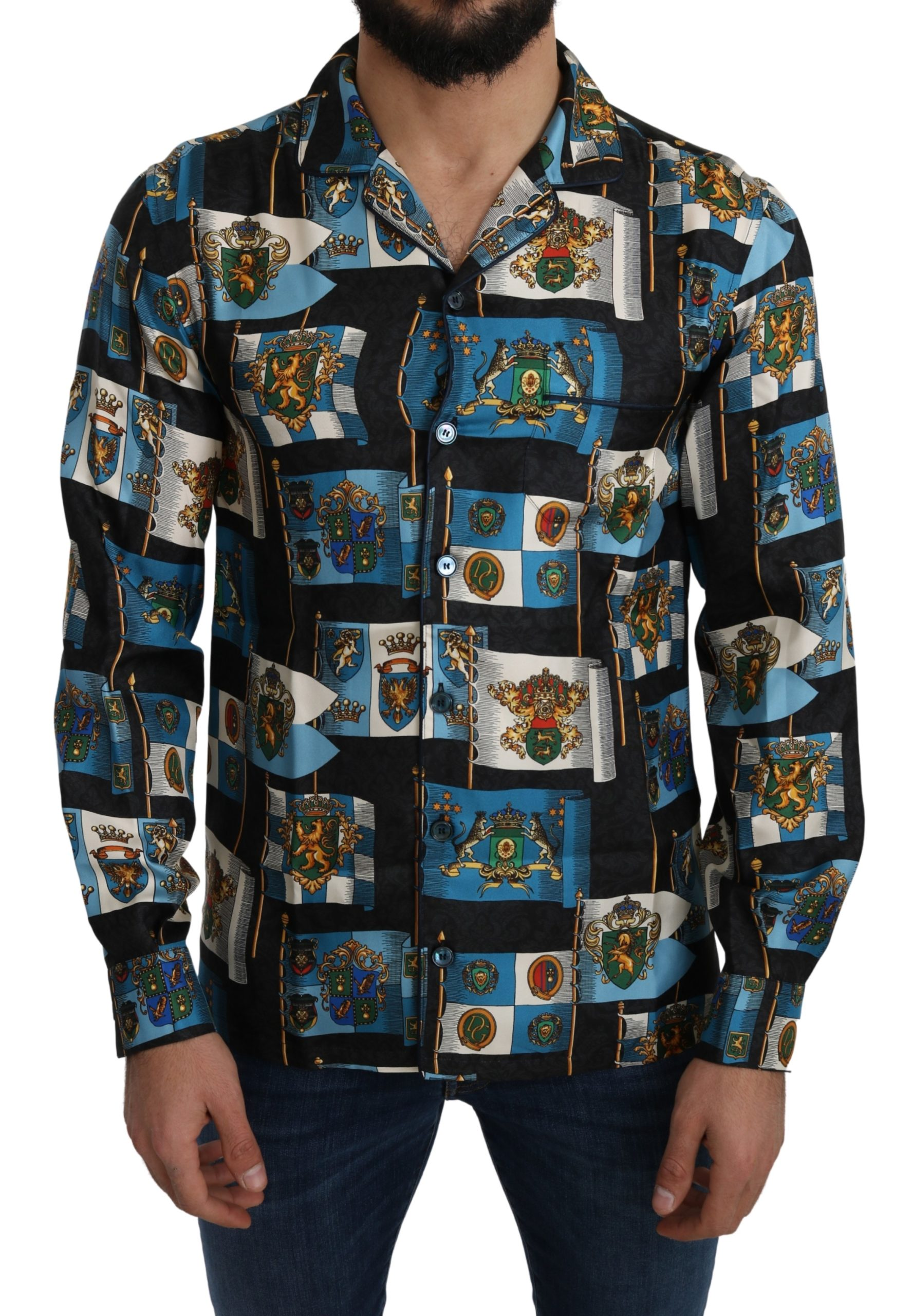 Dolce & Gabbana Men's Silk Coat of Arms Casual Shirt Blue TSH5209 - IT42   XL