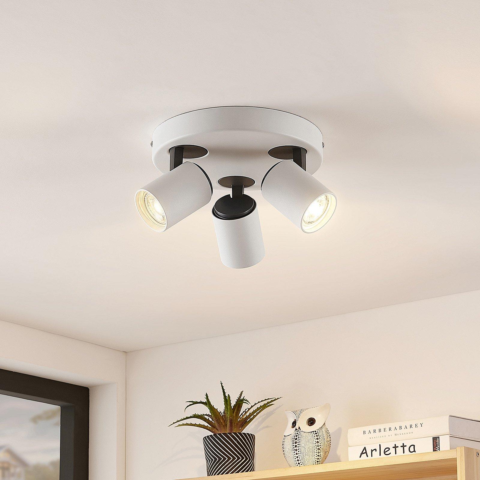 Lindby Ninette taklampe, hvit, 3 lyskilder, rund