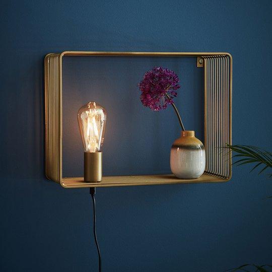 Vegglampe Shelf, gull