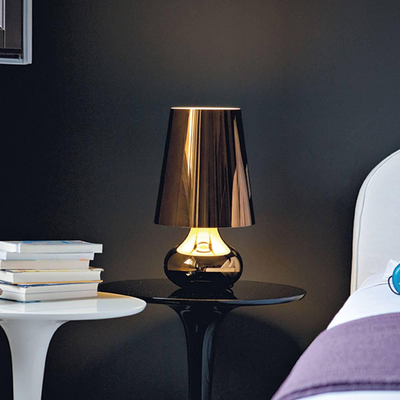 Nattbordslampe Cindy med LED, metallisk grå