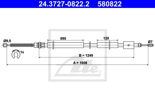 Käsijarruvaijeri ATE 24.3727-0822.2