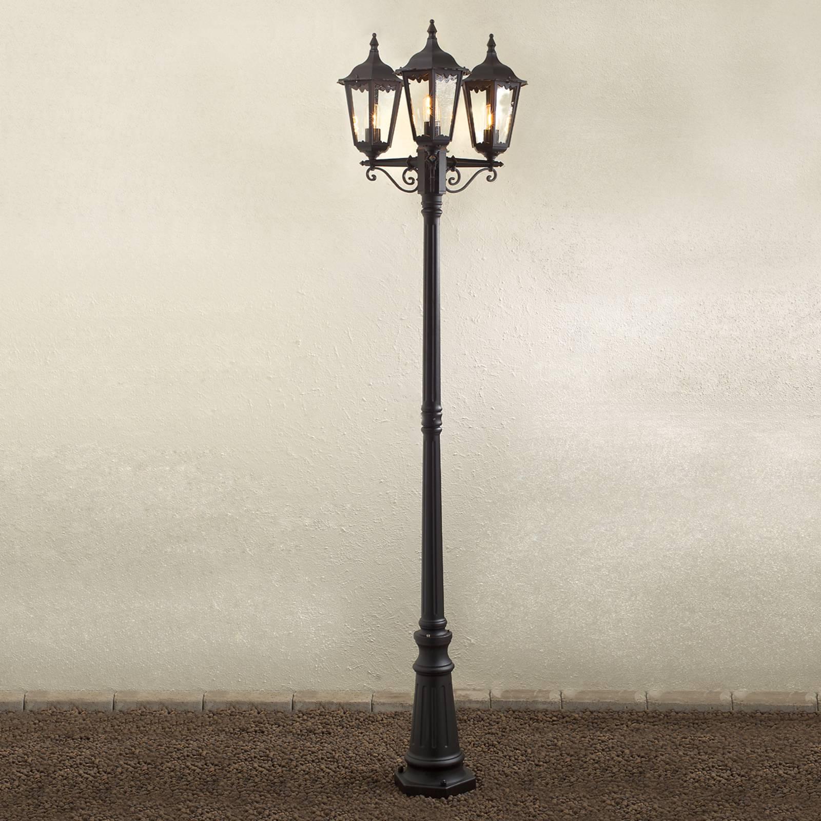 Firenze-lyhtypylväs, 3-lamppuinen, musta