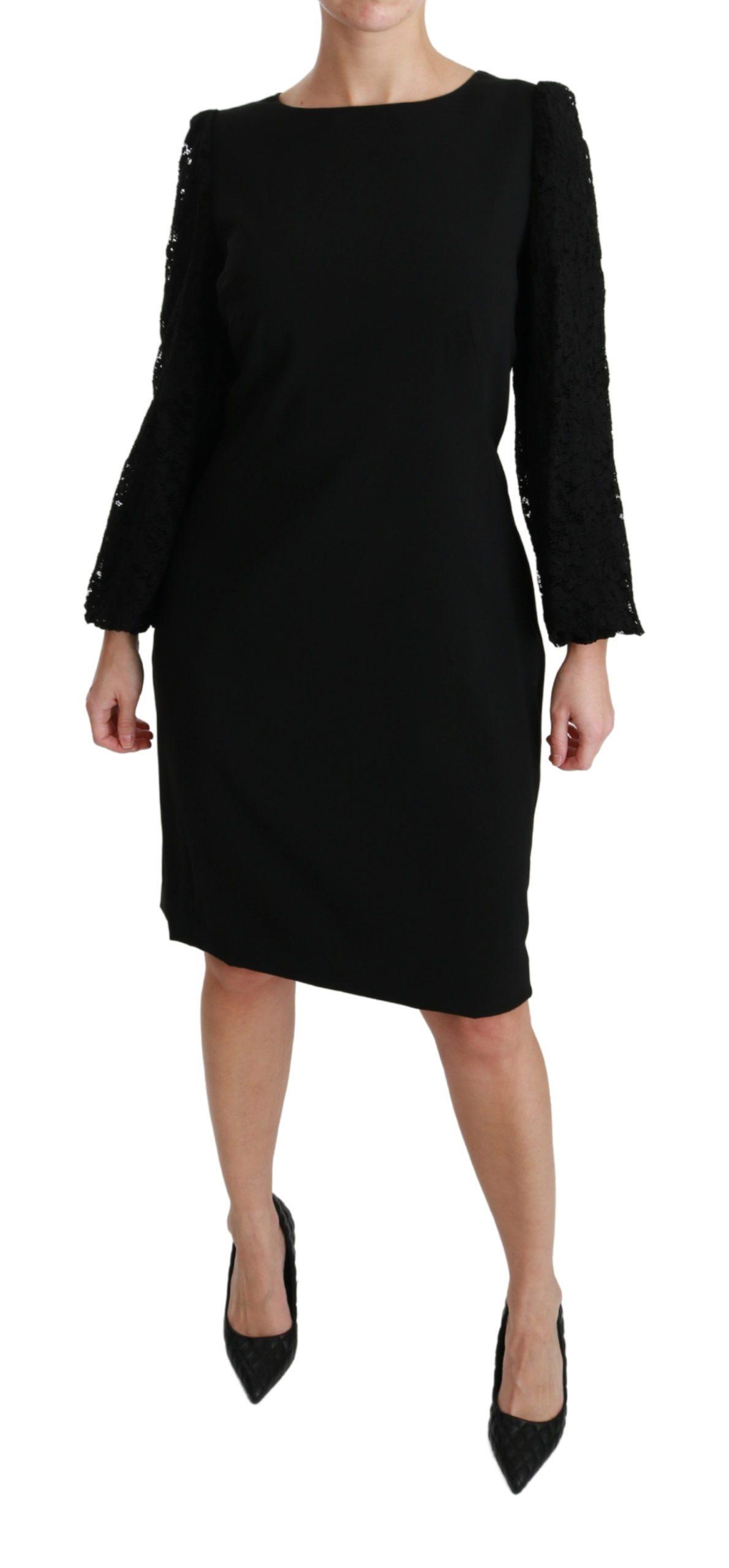 Dolce & Gabbana Women's Floral Lace Sheath Gown Dress Black DR2164 - IT36 XXS