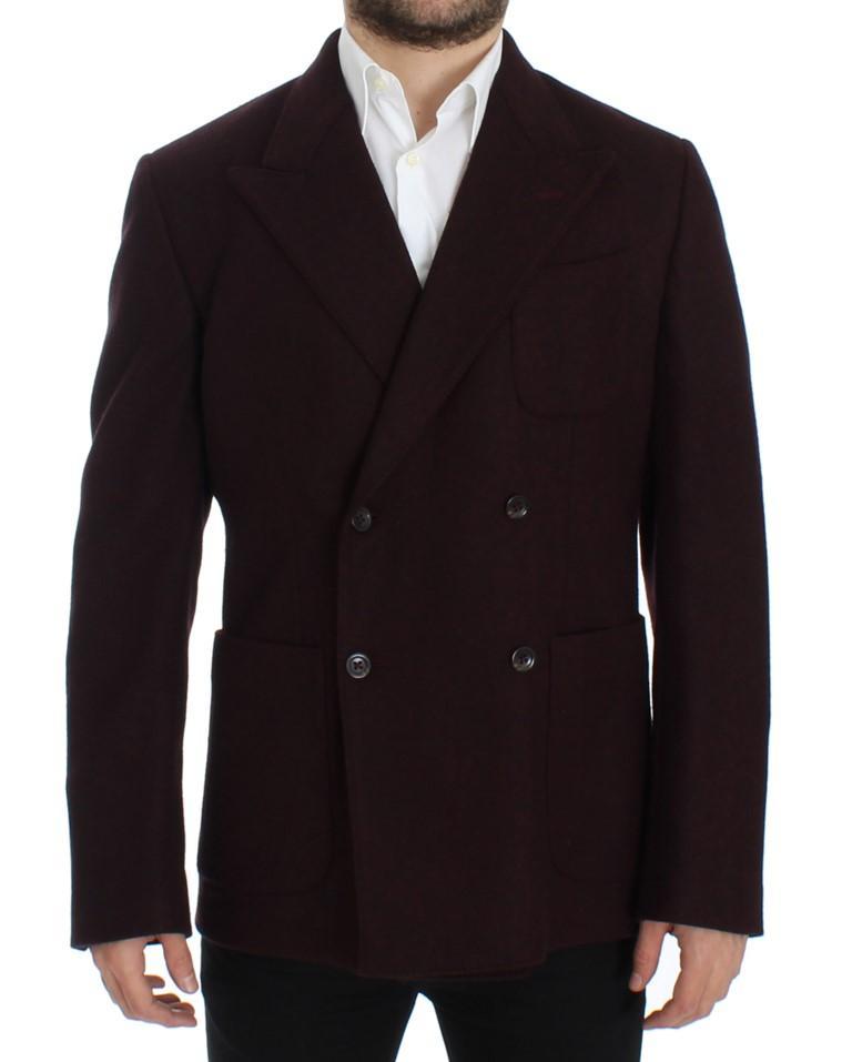 Dolce & Gabbana Men's Double breasted Wool Blazer Bordeaux SIG12289 - IT48 | M