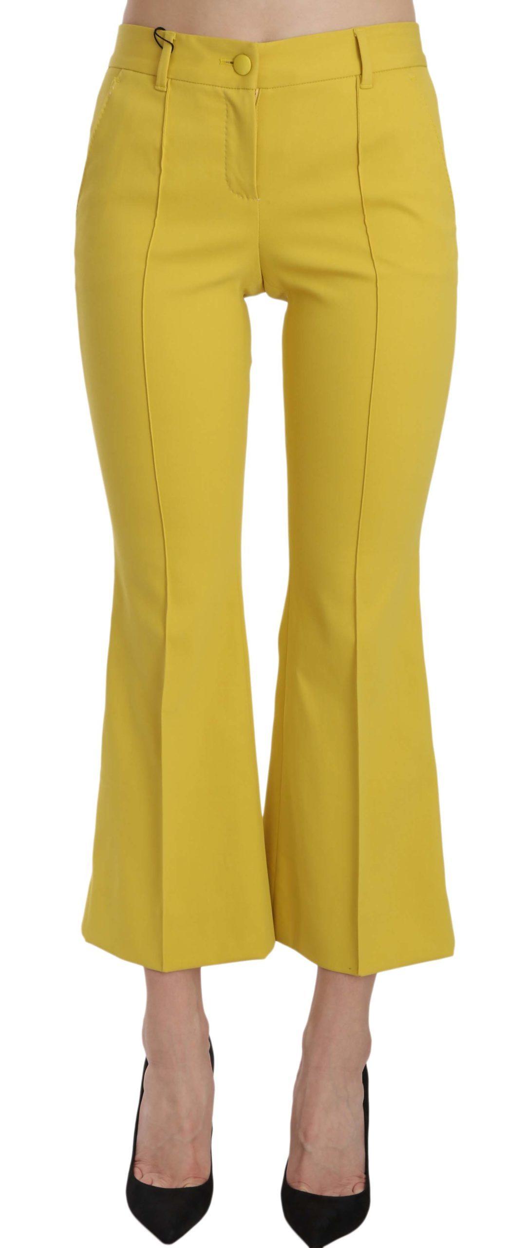 Dolce & Gabbana Women's Flared Bootcut Capri Trousers Yellow PAN61191 - IT36 | XS