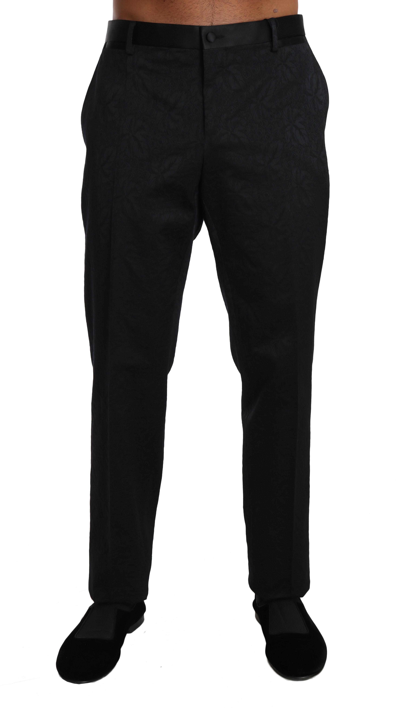 Dolce & Gabbana Men's Cotton Brocade Formal Trouser Black BYX1252 - IT54   L