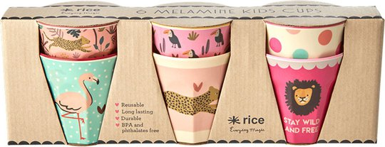 Rice Kopp Melamin Liten Jungle Print 6-pack, Pink