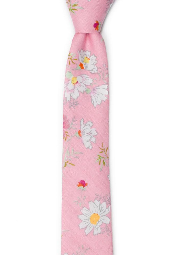 Bomull Smale Slips, Tusenfryd og kløver på rosa base, Rosa, Blomster