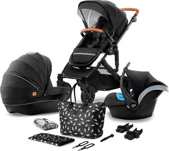 Kinderkraft PRIME 3-in-1 Duovogn med Babybilstol Inkl. Tilbehør, Black