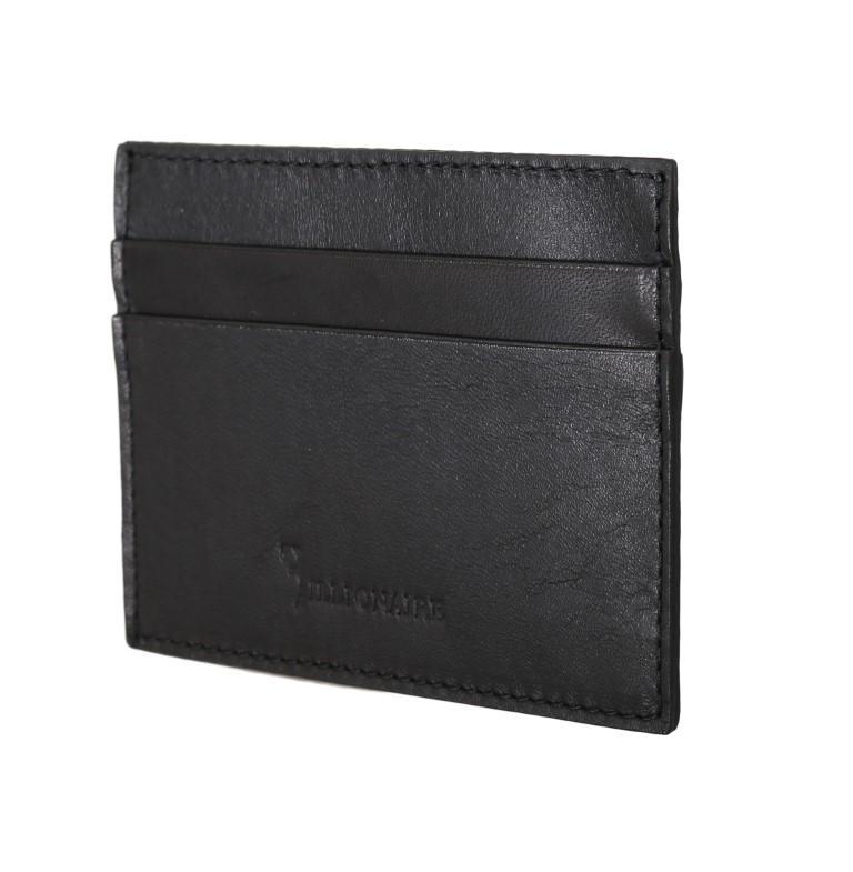 Billionaire Italian Couture Men's Leather Cardholder Wallet Black VAS1445