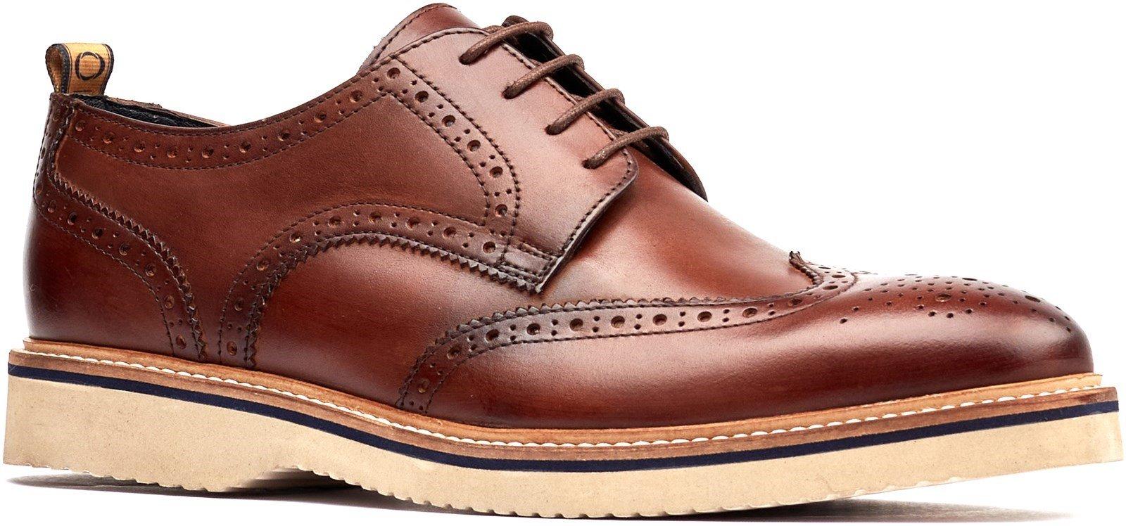 Base London Men's Marcello Lace Up Brogue Shoe Various Colours 32253 - Brown 7