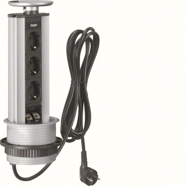 Hager G7045LED Bordmodul 3 jordede uttak, data + LED