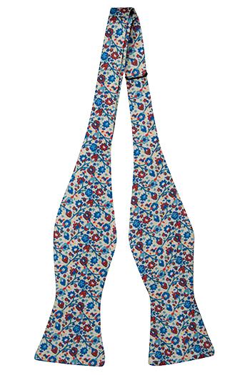 Silke Sløyfer Uknyttede, Små blå & røde blomster på hvit base, Hvit, Blomster
