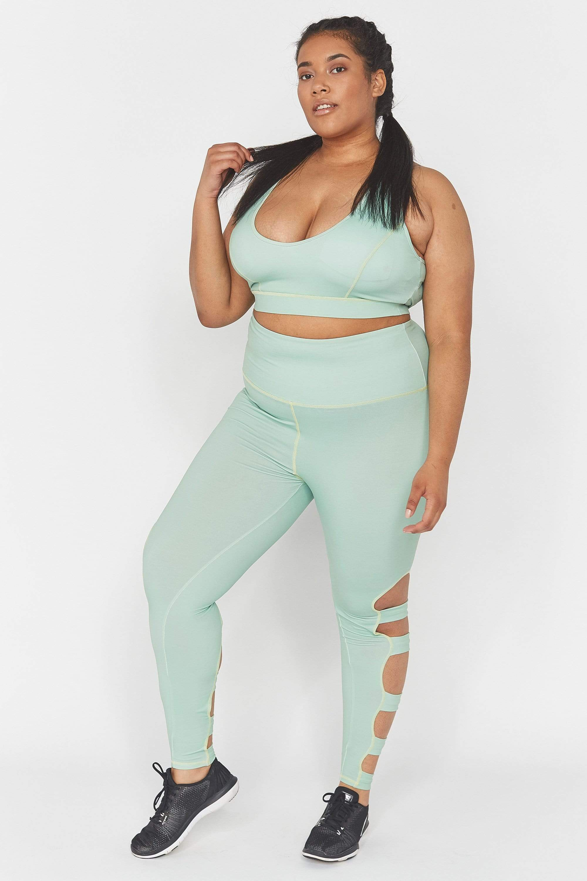 Wolf & Whistle Green Long Strappy Curve leggings UK 18 / US 14