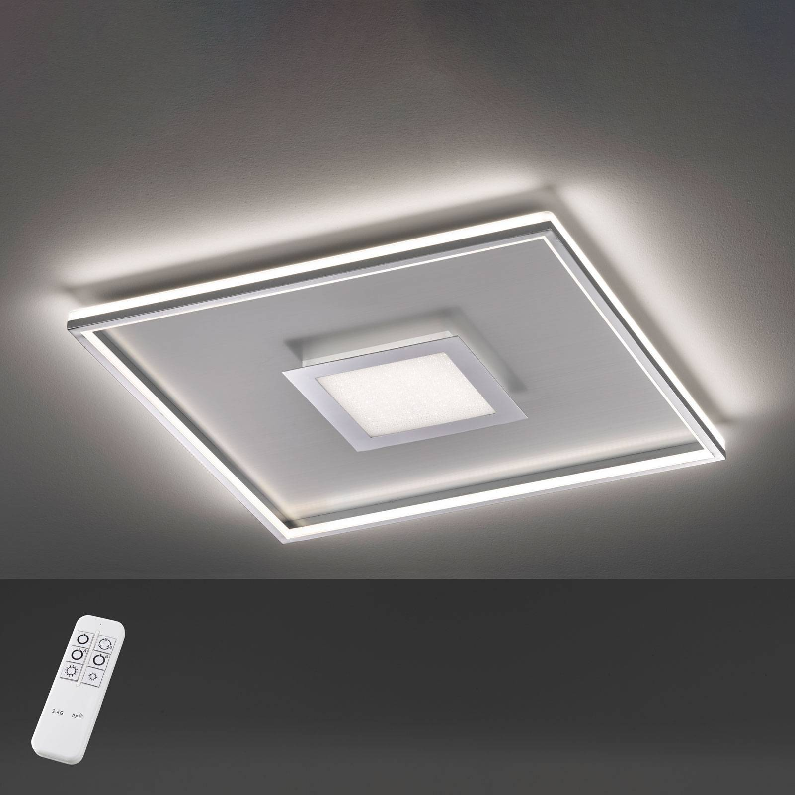 Bug-LED-kattovalo, neliönmuot., kromia, 80x80cm