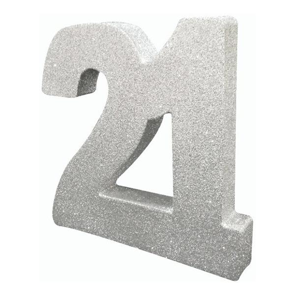 Bordsdekoration Siffra 21 Silver Glitter