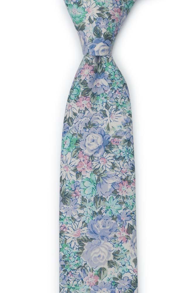 Bomull Gutteslips, Blå, grønnturkis, lilla & hvite blomster, Blå, Blomster