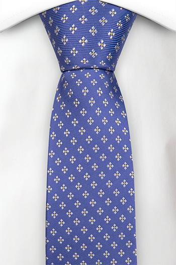 Silke Smale Slips, Blå kyper med firkantete hvite blomster, Blå, Småmønstret