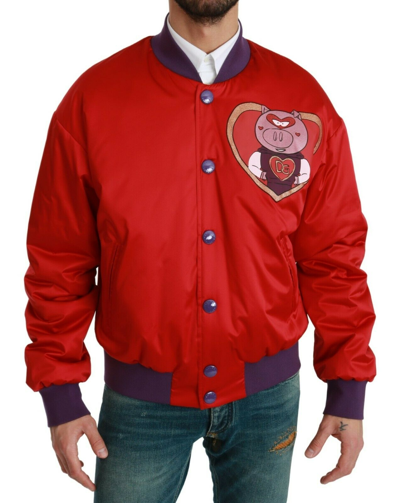 Dolce & Gabbana Men's YEAR OF THE PIG Bomber Jacket Red JKT2610 - IT44 | XS