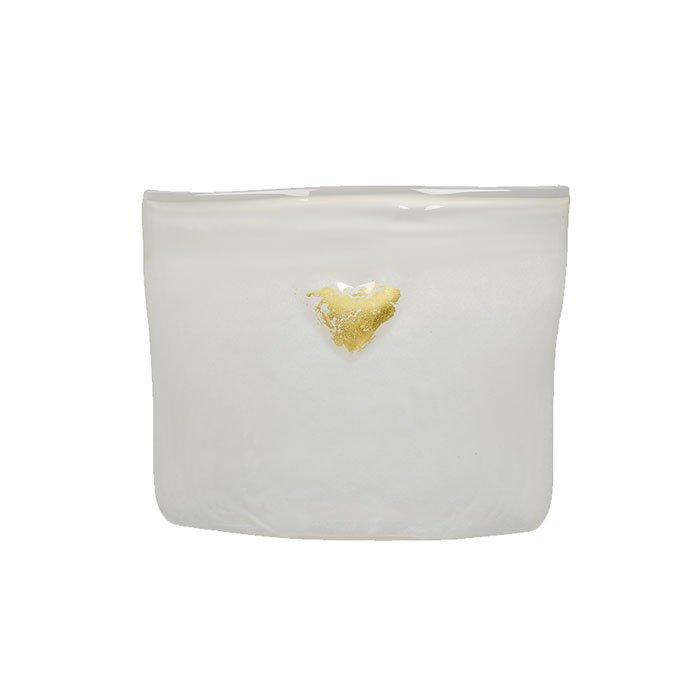 Hadeland Glassverk Hjerte Vase Hvit