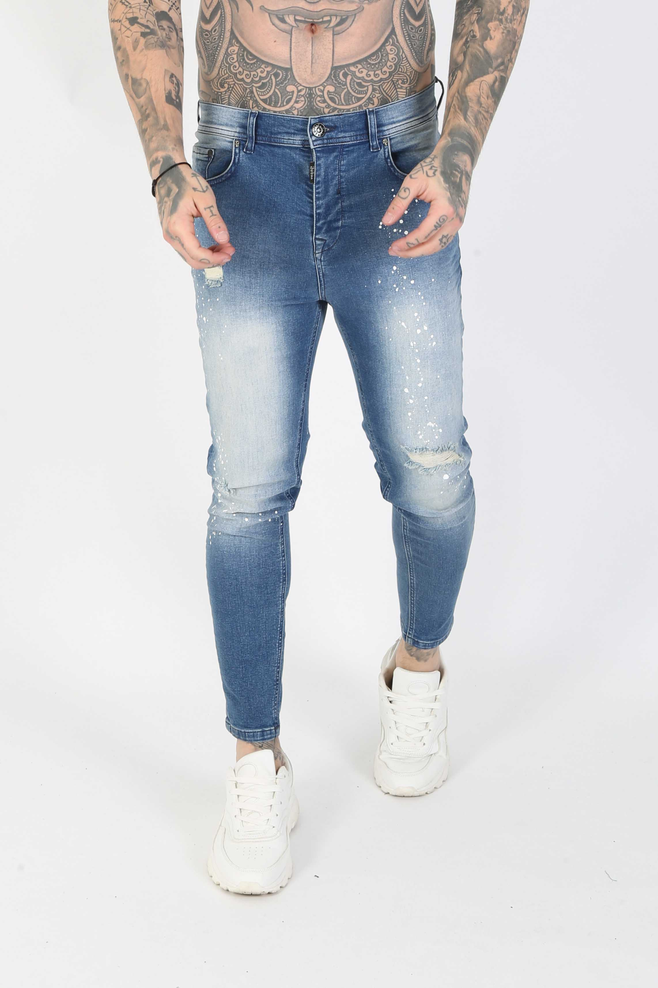 Judd Paint Splatter Distressed Men's Skinny Jeans - Blast Blue, 36 inch waist