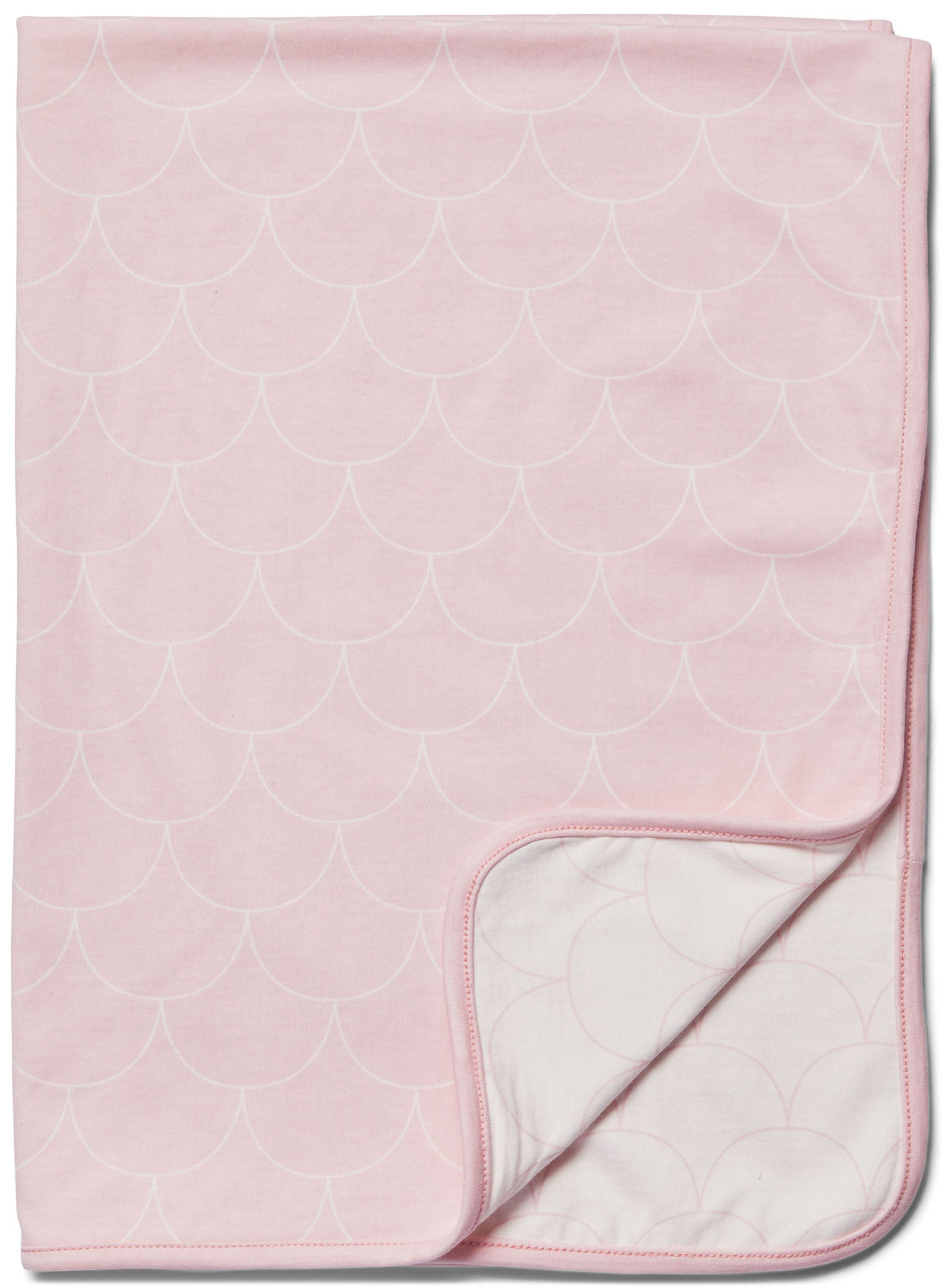 Minitude Scallop Filt, Chalk Pink/White