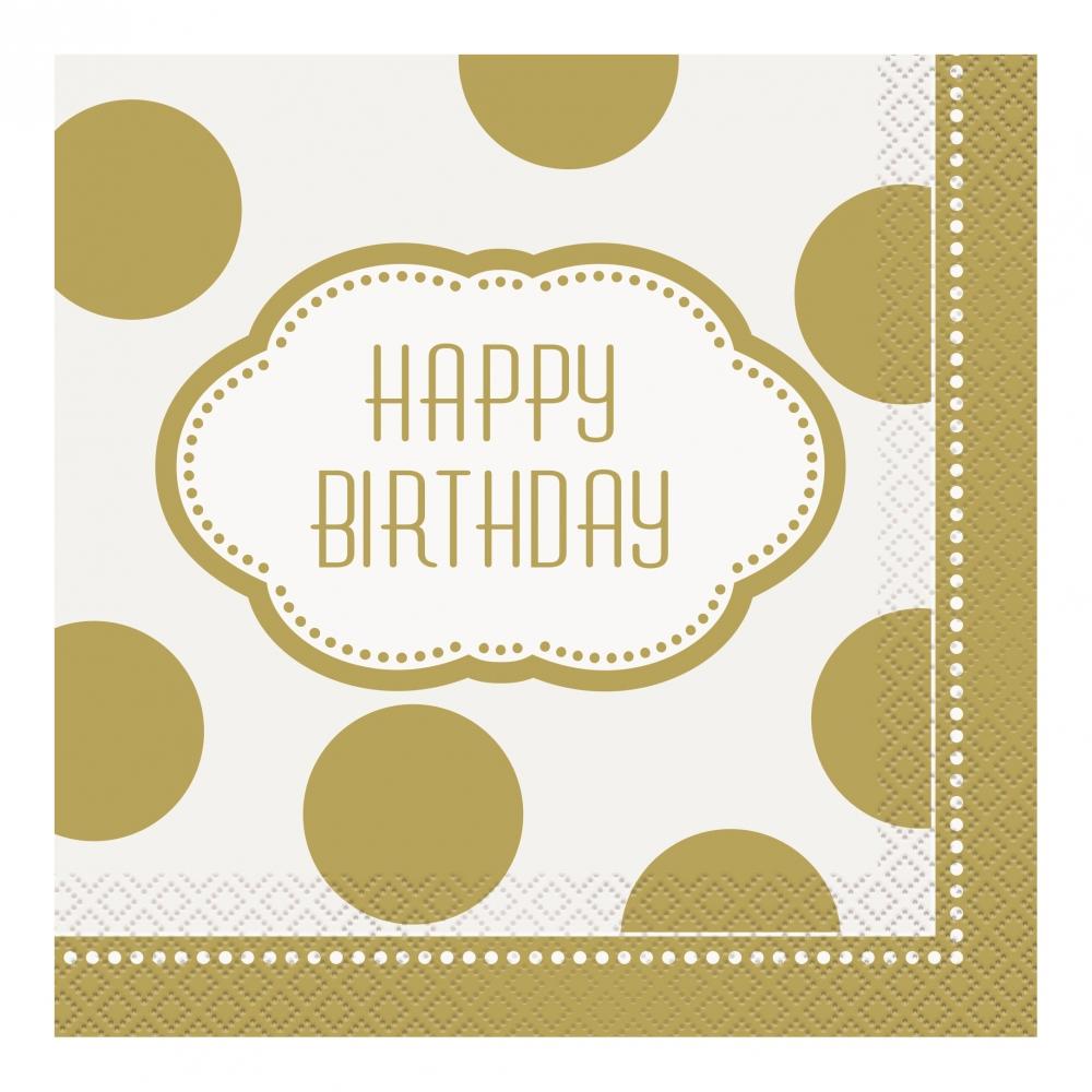 Servetter Happy Birthday Guld - 16-pack