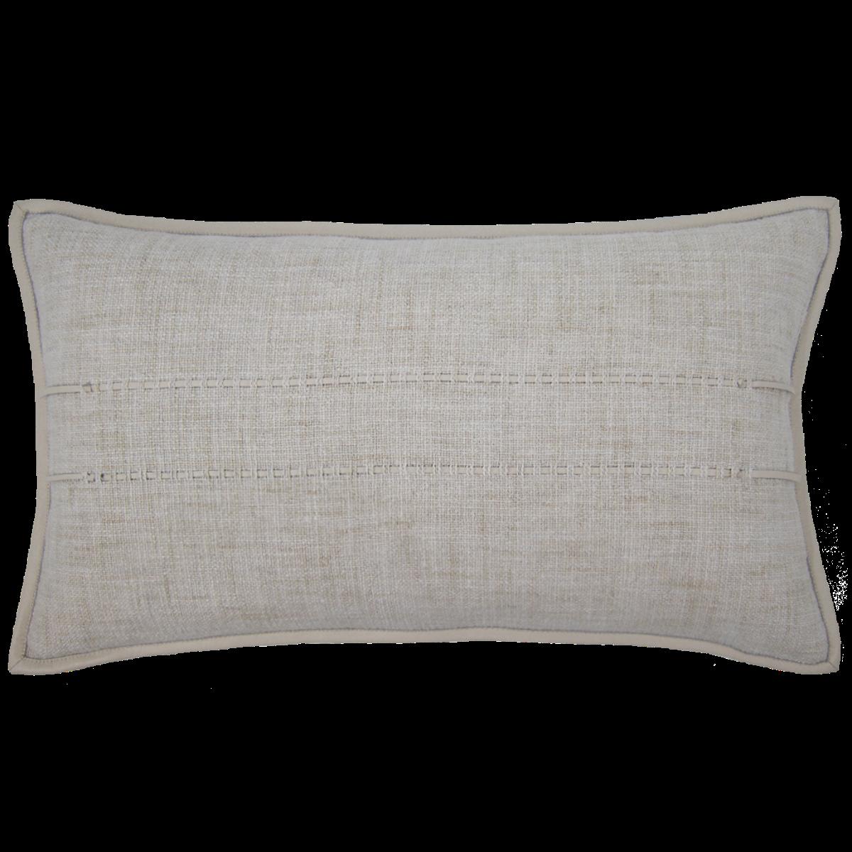 de Le Cuona   Hoxton Cushion With Leather Detail Oat