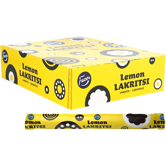 """Hel Låda Lakritsstänger """"Lemon"""" 30 x 20g - 34% rabatt"""