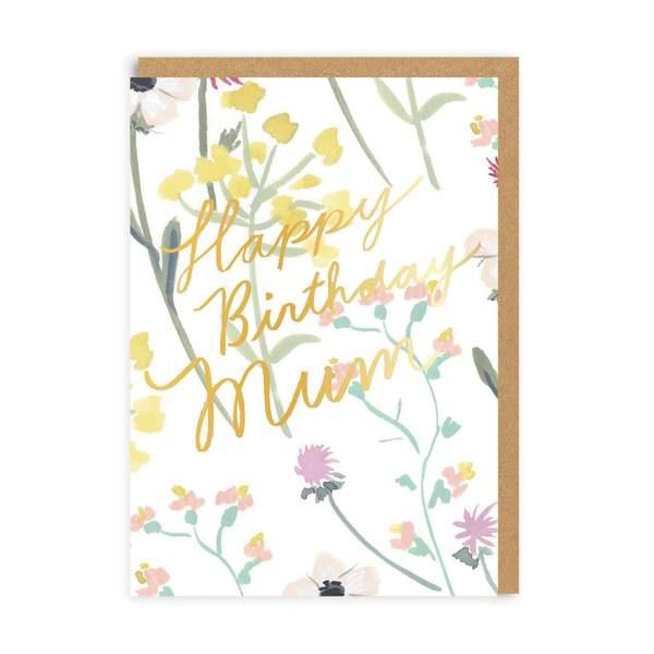 Mum Happy Birthday Floral Greeting Card