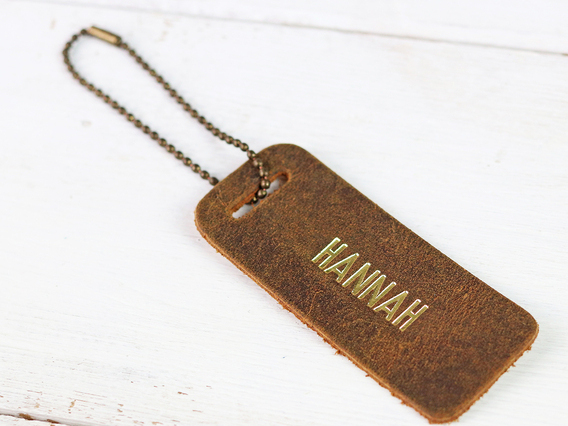 Leather Bag Tag with Chain