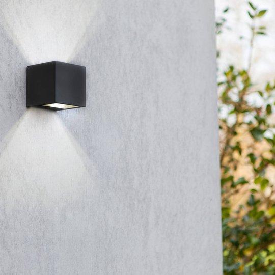 Gemini utendørs LED-vegglampe matt svart 8,8cm