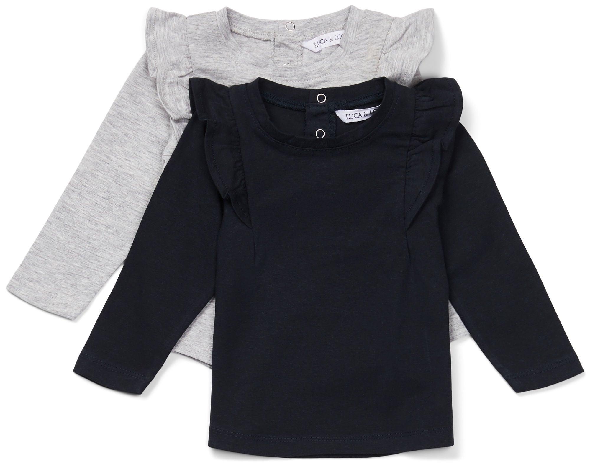 Luca & Lola Lina Topp 2-pack Baby, Grey Melange/Phantom 56