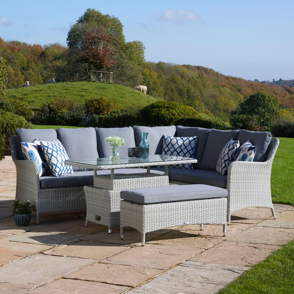 2021 Bramblecrest Tetbury Garden Sofa Set With Rectangle Adjustable Table & Dining Bench - Cloud