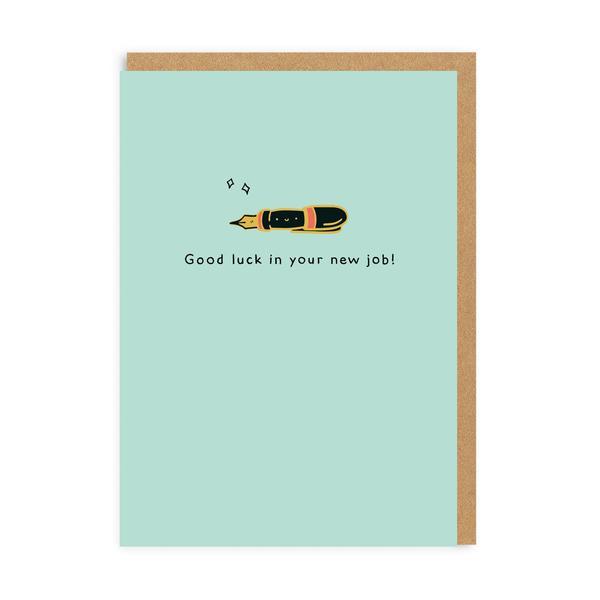 New Job Pen Enamel Pin Greeting Card