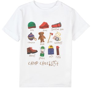 Ralph Lauren Camp Checklist Print Tee T-shirt Vit 2 år