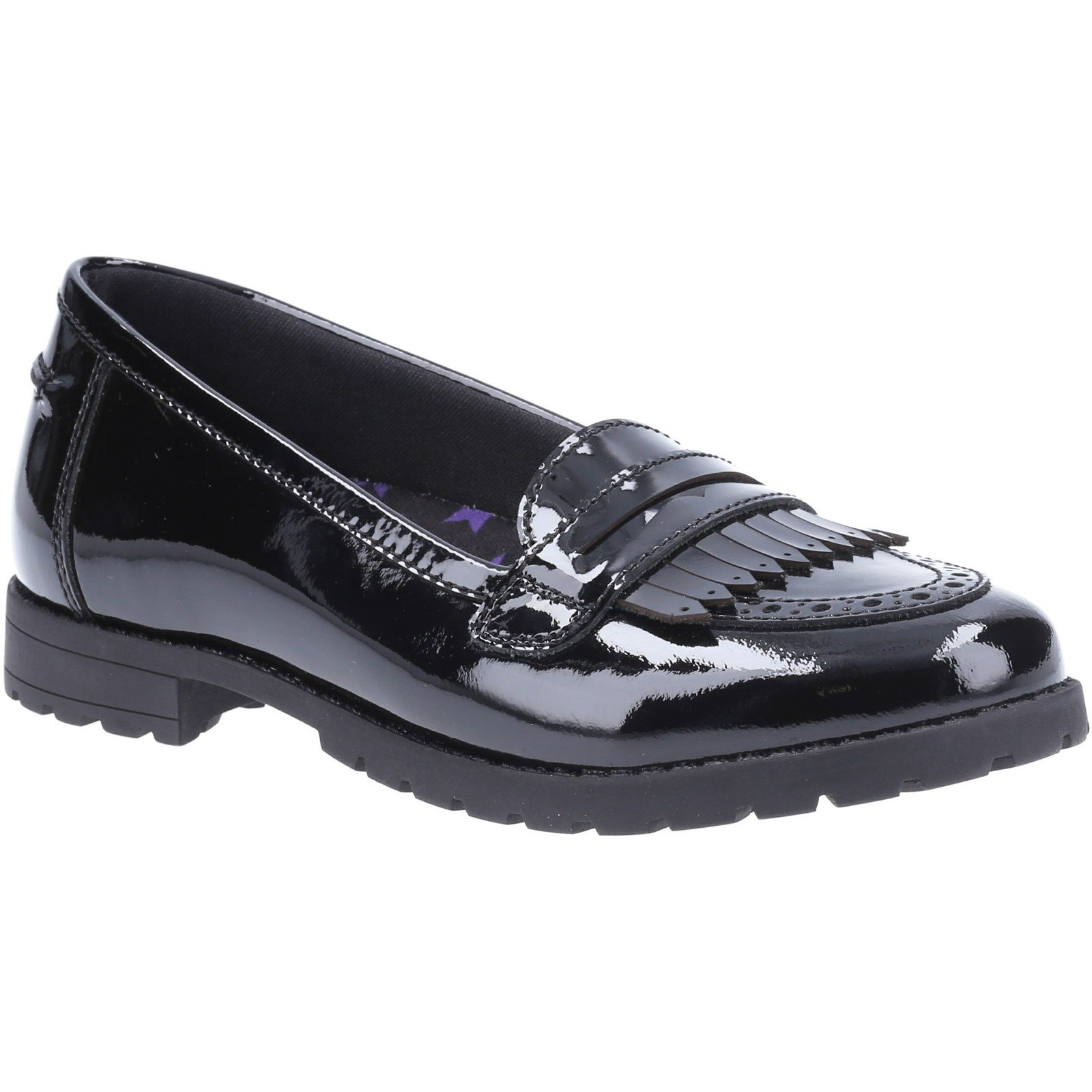 Hush Puppies Kid's Emer Junior School Shoe Patent Black 32595 - Patent Black 1
