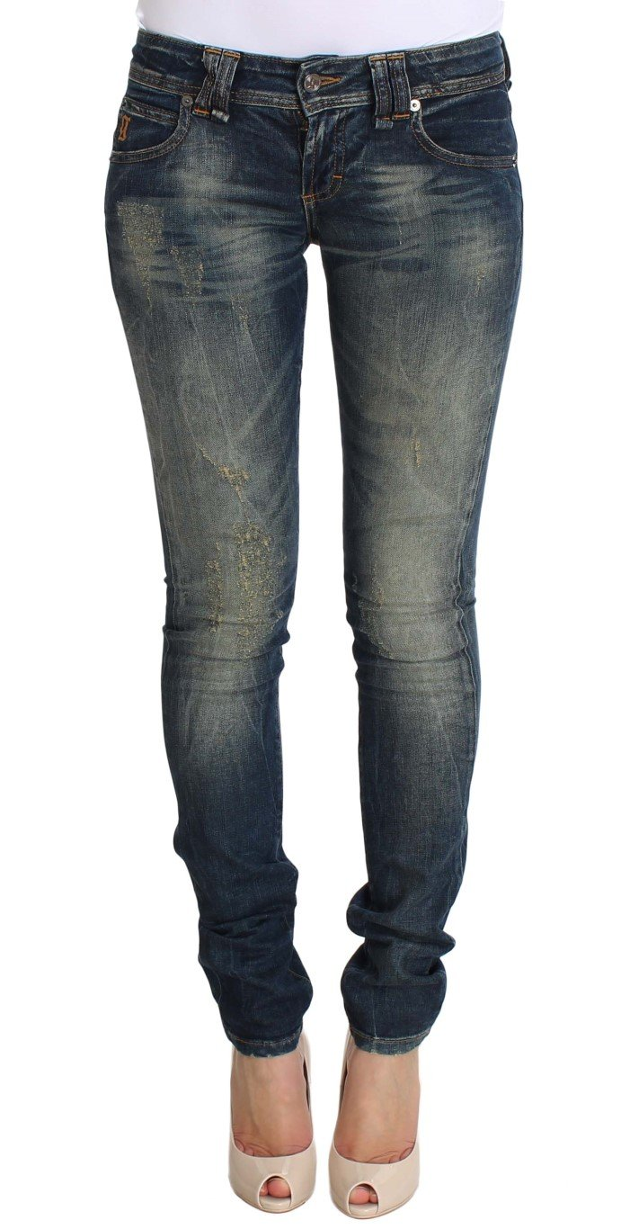 John Galliano Women's Skinny Low Cotton Stretch Jeans Blue SIG30286 - W25
