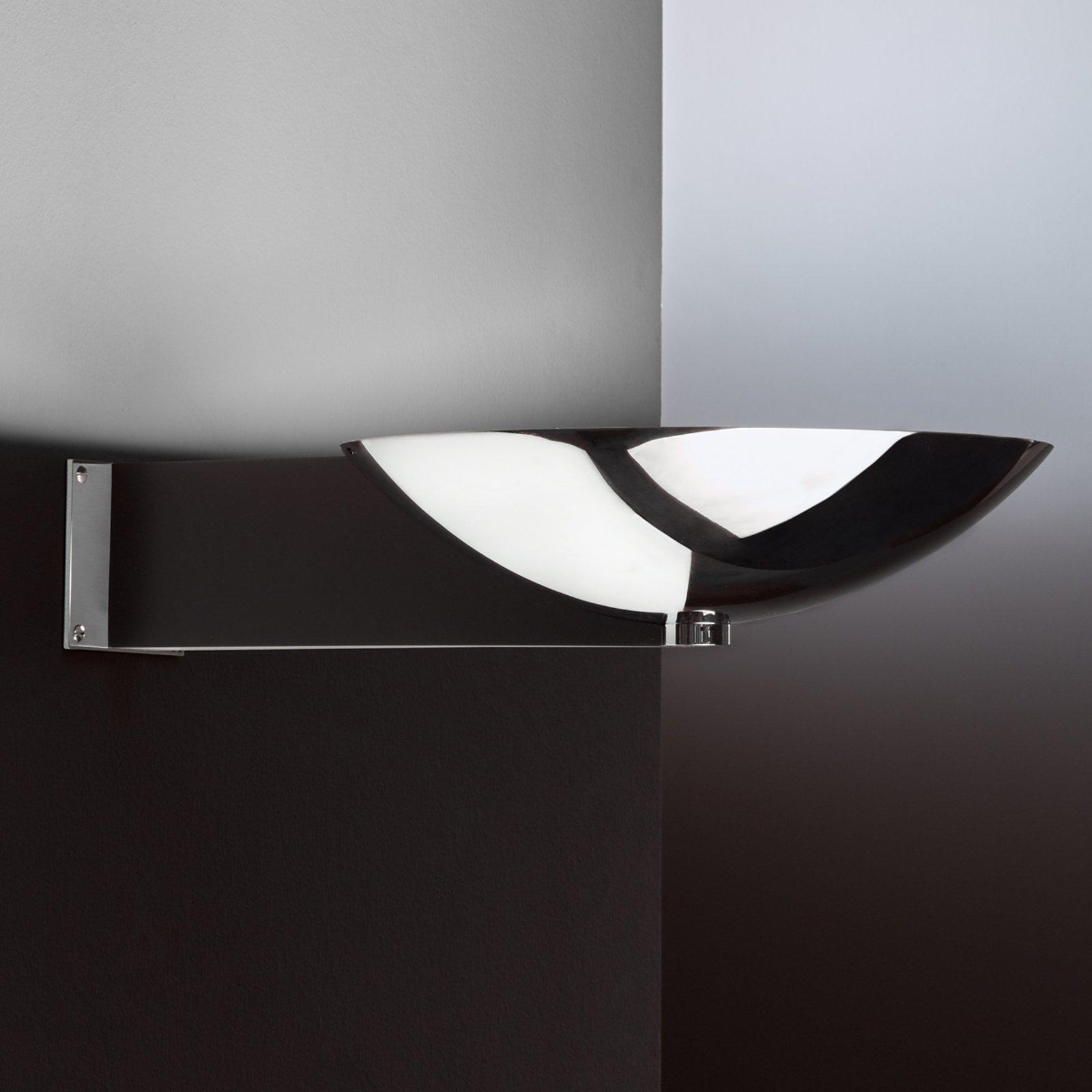 Art Deco-vegglampe med arm krom og svart