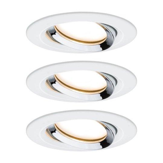 Paulmann Nova Plus 3 kpl pyöreä valkoinen-kromi