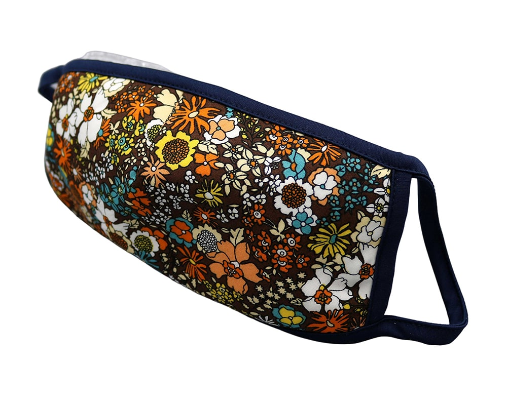 Bomull Ansiktsmask, Oransje og hvite blomster, Brun, flowers