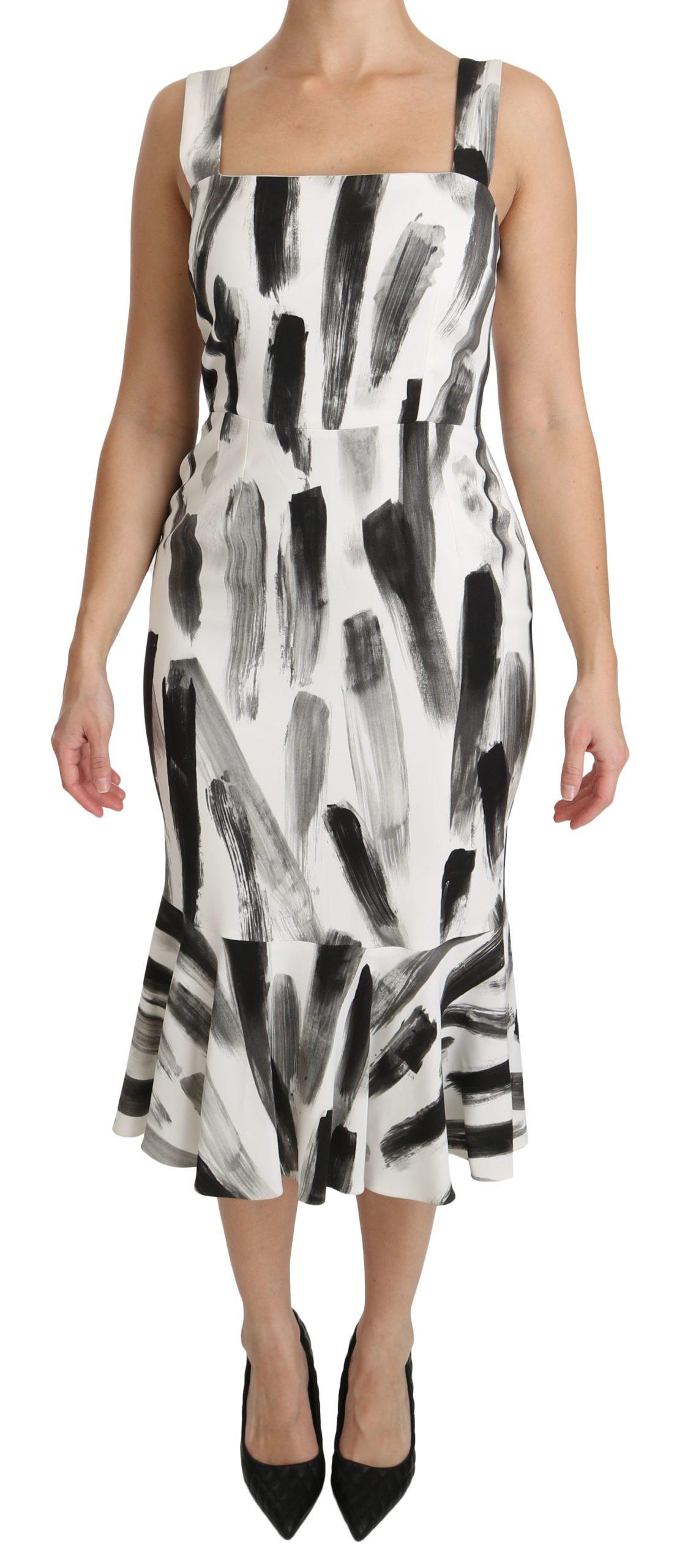 Dolce & Gabbana Women's Printed Sheath Midi Viscose Dress White DR2145 - IT42|M