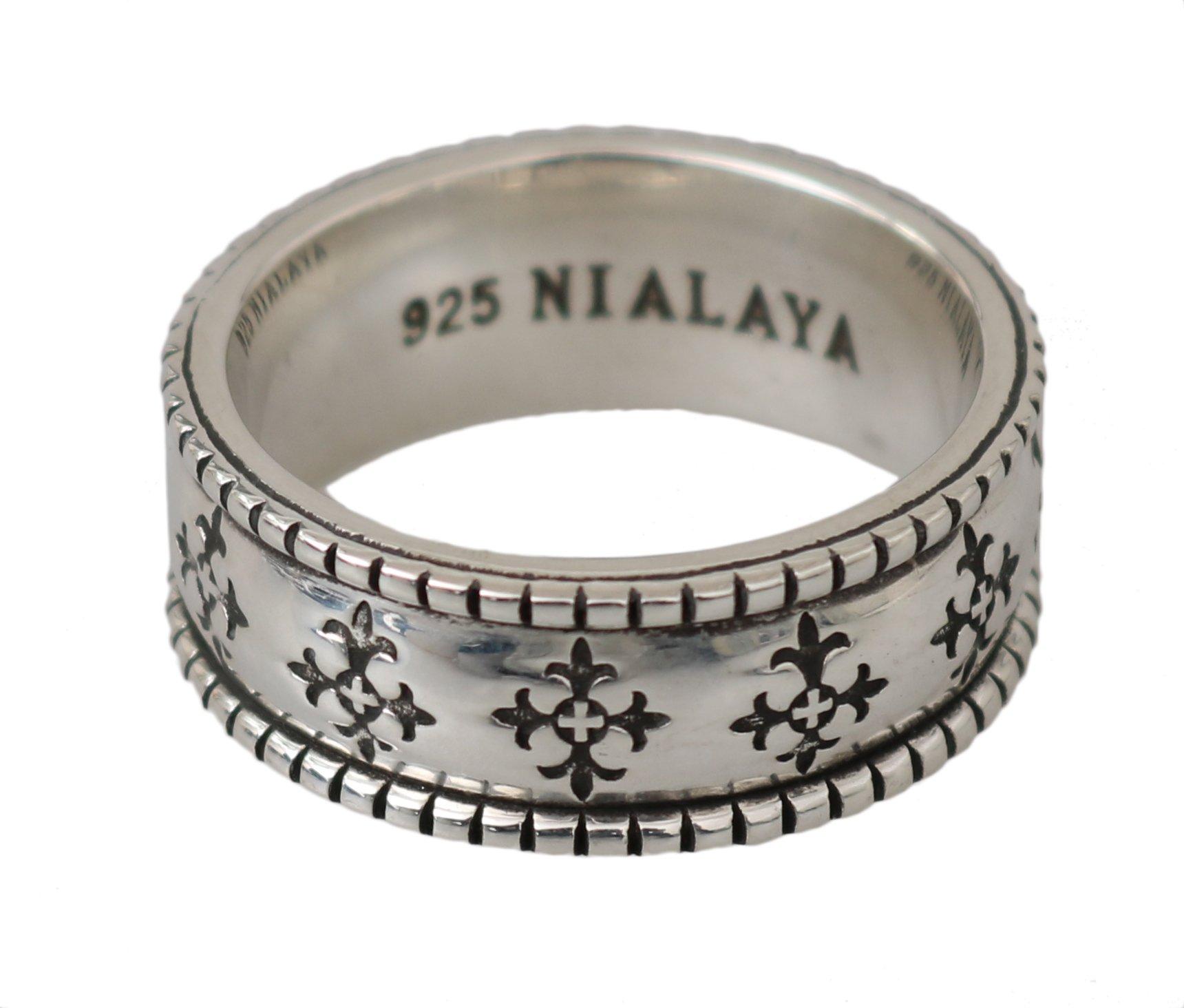 Nialaya Men's Sterling Cross Logo Authentic 925 Ring Silver NY101 - EU66 | US12