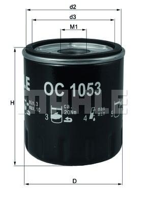 Öljynsuodatin MAHLE ORIGINAL OC 1053