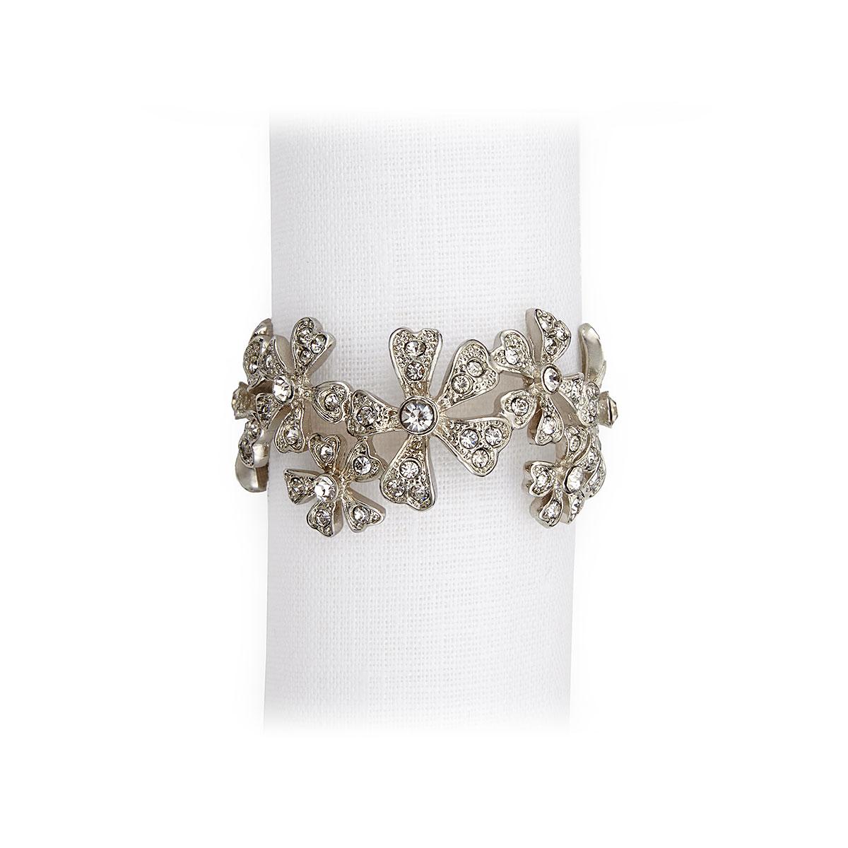 L'Objet I Garland Napkin Jewels Platinum White Crystals