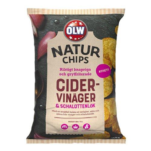 OLW Naturchips Cidervinäger & Schalottenlök - 150 gram
