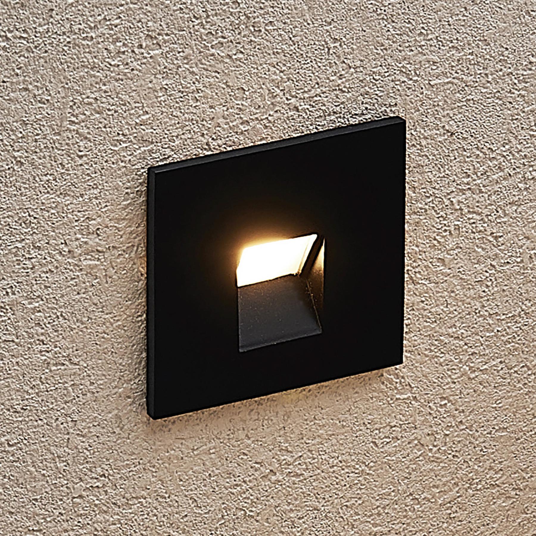 Arcchio Vexi -LED-uppovalaisin, kulmikas, musta